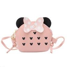 Sac à bandoulière motif dessin animé Disney Minnie Mickey en PU pour femmes, sacoche décorative diagonale pour téléphone portable, porte-monnaie