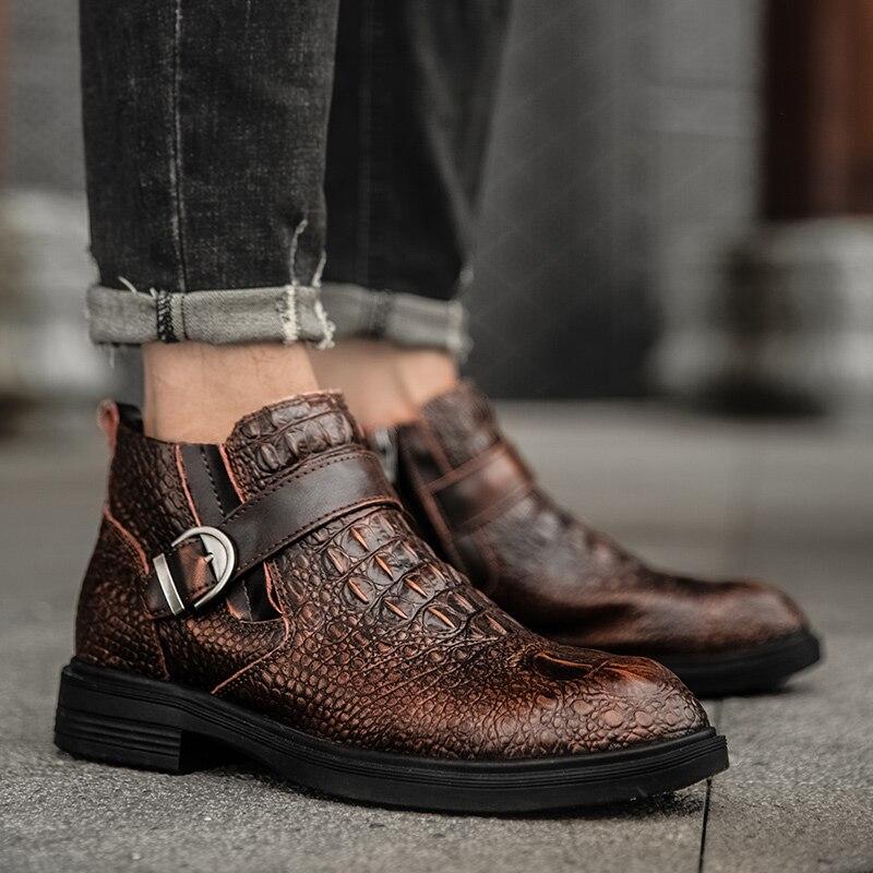 botas de couro genuíno sapatos de crocodilo