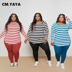 CM.YAYA Activewear Classic Plus Size XL-5XL Women's Set Striped Sweatshirt Pants Sporty Tracksuit Fitness Two Piece Set Outfit