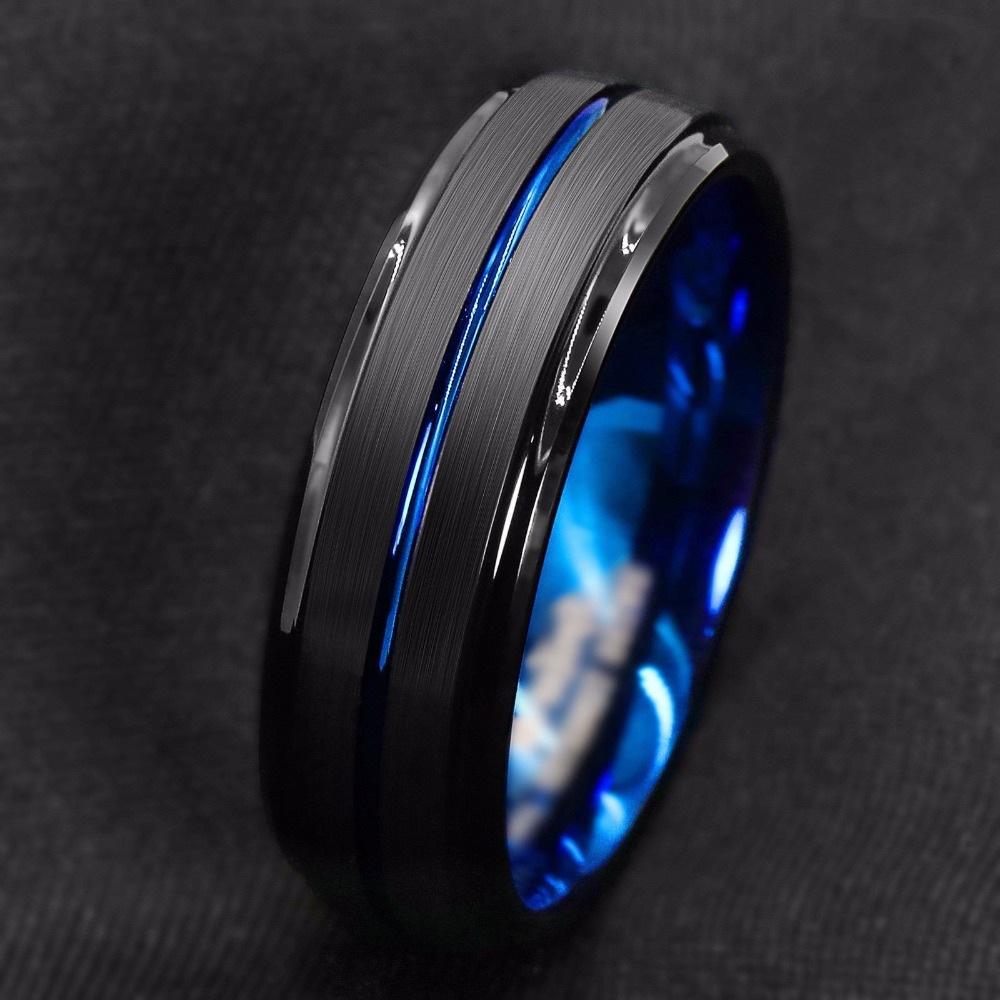 Titanium Ring For Men.Surface Black Blue Groove Inside Blue Face Stainless Steel Ring.Highlight Man Temperament Light Luxury