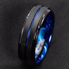 Титановое кольцо для мужчин. Поверхностный черный синий паз внутри синее лицо кольцо из нержавеющей стали. Высокий светильник для мужчин те...