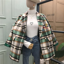 Plaid Women Blazers Double Breasted Notched Emb
