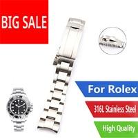 CARLYWET 20 21mm Silber Gebürstet Uhr Band Stahl Schraube Link Ersatz Handgelenk Armband Flip-Lock Verschluss Für Rolex Oyster deepsea