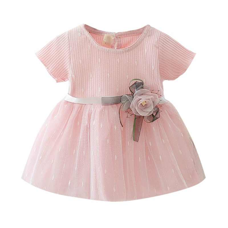 Baby Girl Dress Summer New Sweet Cute Mini Dresses Fashion Baby Dresses Girls Mesh Stitching Bottoming Princess Dress