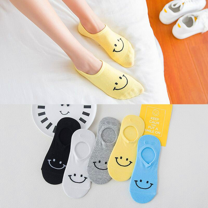 5 Pairs Candy Color Spring Summer Kawaii Expression Women Happy Socks Fashion Funny Socks Girls Cotton Boat Socks