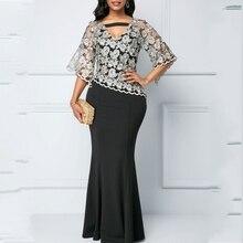 Maxi-Dresses African-Clothes Robe Dashiki Bazin Women Autumn Spring for Black Lace Vestido