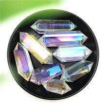 1pc galvanizado aura cristal branco duplo ponto obelisco cristal varinha cura torre pedras naturais e minerais