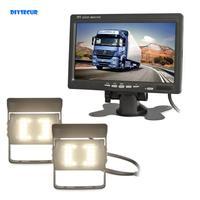 DIYSECUR DC 12V 24V 7 TFT LCD Car Monitor 2 x 4pin LED Night Vision CCD Rear View Camera for Bus Houseboat Truck