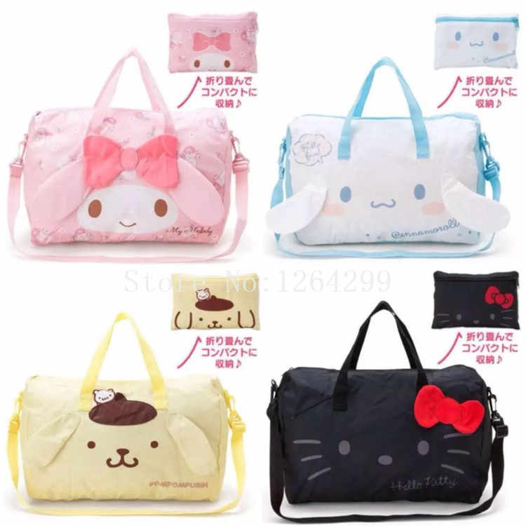 New Fashion My Melody Cinnamoroll PomPom Purin Girls Woman Big Fold Travel Bags Totes Kids Messenger Bag For Children