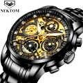 Relojes de pulsera para hombre, relojes de pulsera para hombre, marca de lujo de 2019, relojes de hombre con cronógrafo dorado, relojes de pulsera grandes para hombre