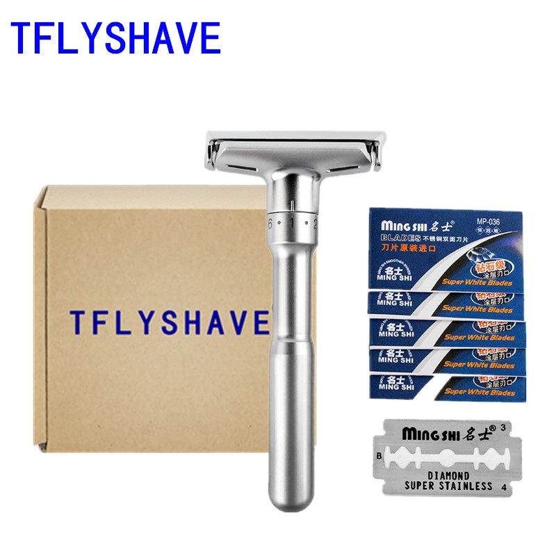 TFLYSHAVE Adjustable Safety Razor Men Double Shaver Razor Classic Safety Razor Mingshi Shaving Razor Blades With 5 Blades