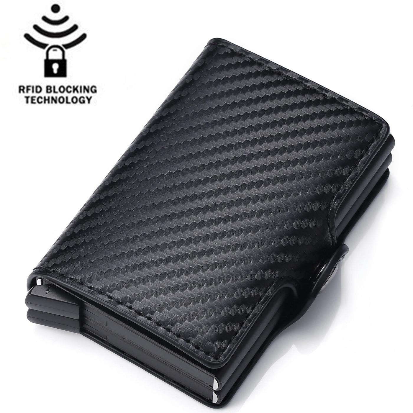 Moda masculina rfid fibra de carbono carteiras de couro do plutônio fino titular do cartão sacos de dinheiro bolsa preta pequena mini carteira masculina