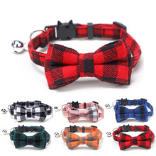 Pet-Dogs-Collars Puppy Bulldog Bowknot Necklace Small Chihuahua Cotton Plaid with Bow-Tie