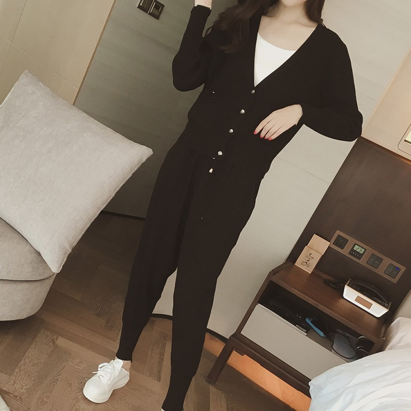 Knitted Casual Tracksuit Pant Suits 2018 Fashion 2 Piece Set Women Sweater And Trousers Set Pants Set 65