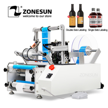 ZONESUN  XL T801 Semi automatic PET Plastic Tin Can Double Single Label Glass Water Milk Juicer Round Bottle Labeling Machine