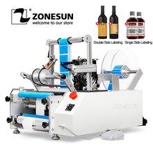Zonesun XL T801 Semi Automatische Huisdier Plastic Tin Kan Dubbele Enkele Label Glas Water Melk Juicer Ronde Fles Labeling Machine