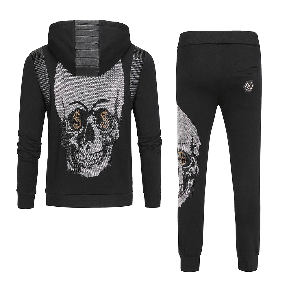 PP Bag Packaging!DUYOU Brand Men's Metal Skull Tracksuit PU Stitching Sweatshirt Zip Tracksuit Dollar Sign Skull Hoodies Joggers