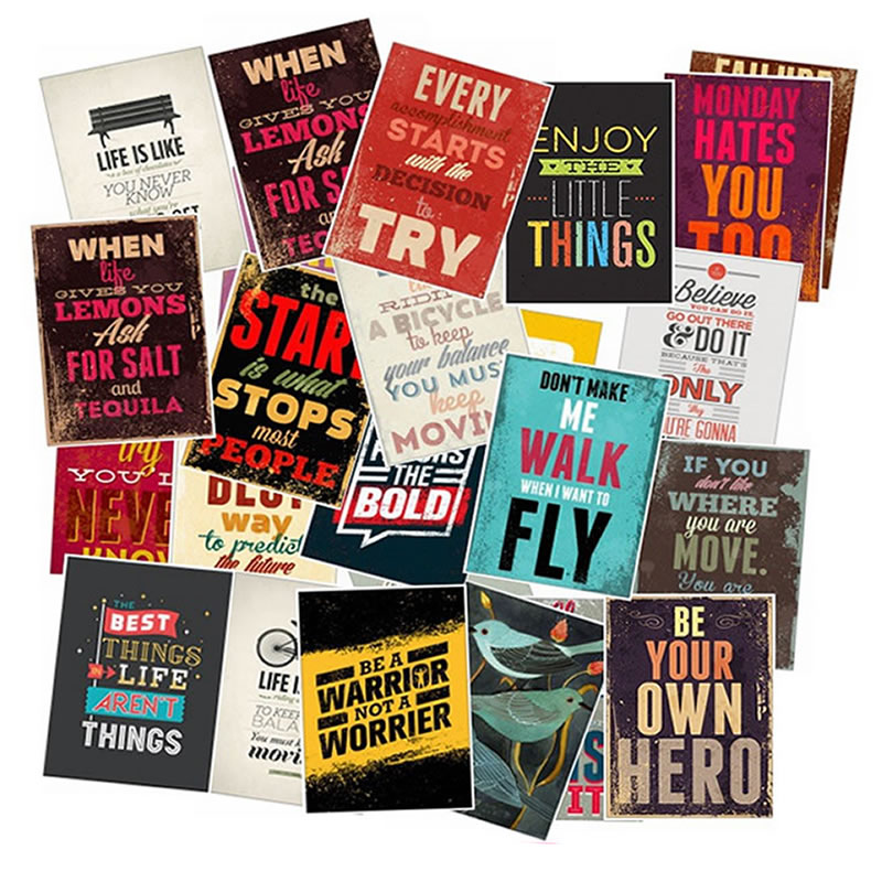 25PCS Inspirational Motto Posters Stickers Waterproof PVC Travel Skateboard Laptop Luggage Fridge Phone Kids Toys Vsco Sticker