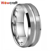 Mens Womens 6mm 8mm Tungsten Carbide Steel Rings Wedding Bands Matted Finish with Groove Beveled Edges Comfort Fit