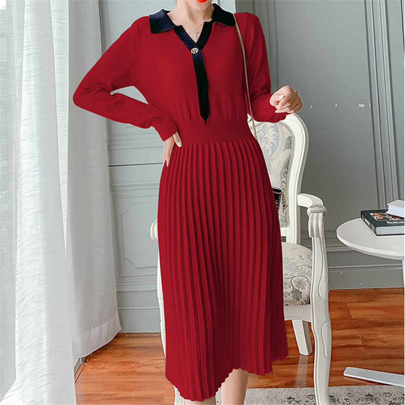 Koreaanse Mode Gebreide Vrouwen Jurk Trui Geplooide Jurk Elegante Vrouwen V-hals Trui Jurken Vrouw Truien Jurken Plus Size jurken jurk dress winter