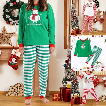 Family Christmas Pajamas Set Family Matching Clothes Xmas Party Clothes Adult Kids Pajamas Set Cotto