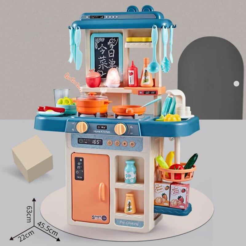 Simulation cocina infantil son et lumière pulvérisation d'eau cuisine jouets ensemble cuisine table jouer maison cuisson cuisinière plastique nourriture jouet