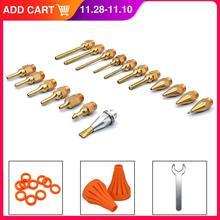 18 unids/set pistola de pegamento boquilla de cobre de calibre pequeño largo de gran diámetro accesorios de pistola de pegamento de fusión en caliente para enviar llave/cubierta de goma