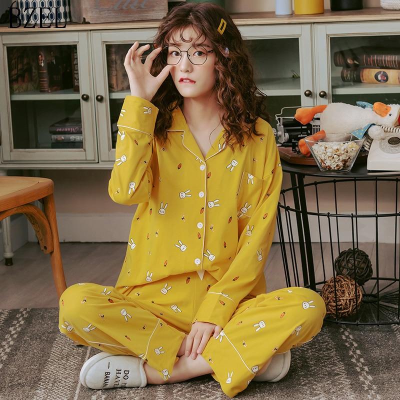 BZEL Cartoon Pajamas Women's Cute Rabbit Sleepwear Cotton Pyjama Long Sleeve Pants Set Leisure Home Suit Lounge Wear Plus Size