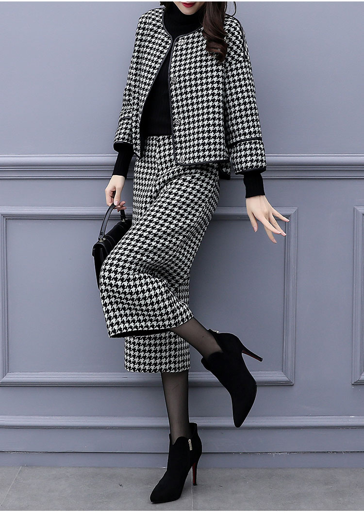 Image 5 - 2019 Autumn Winter Houndstooth Two Piece Sets Outfits Women 