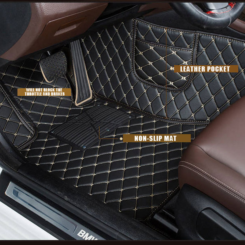 Custom Car Floor Mats for Toyota 4Runner 2010 Full Surrounded Waterproof Anti-Slip All Weather Protection Leather Material Car mat Carpet Liners Interior Accessories Black
