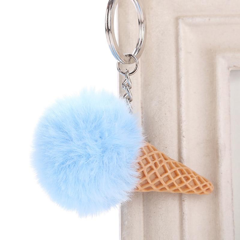 Cute Ice cream With Pom Pom Plush Toy With Keychain Ice cream Key Pendant Soft Stuffed Animal Toys Kids Girls Bag Hang Pendant
