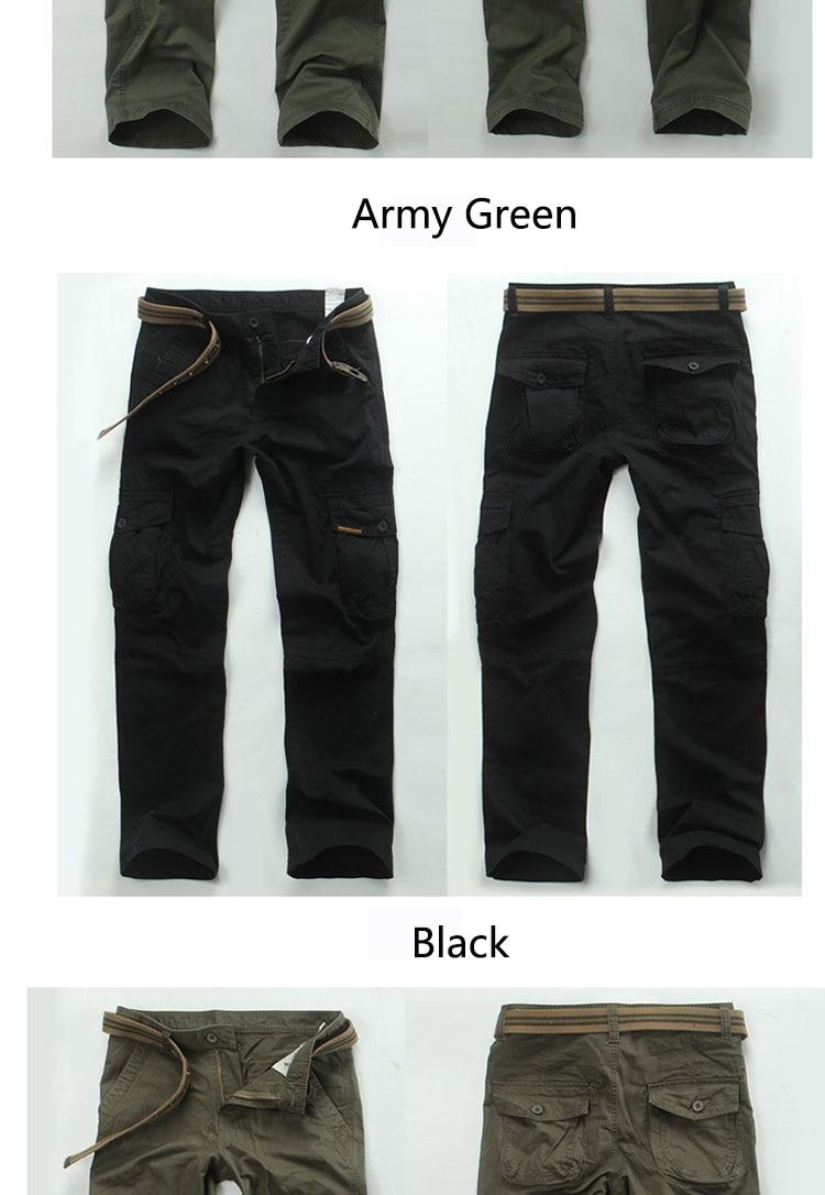 KSTUN New Men's Cargo Pants Casual Overalls 100% Cotton Straight Cut Male City Military Tactical Pants Men Loose Fit Trousers No Belt 12