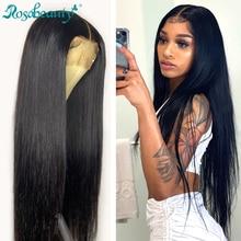 Rosabeauty ארוך glueless 28 30 אינץ 13x4 תחרה מול שיער טבעי פאות מראש קטף ברזילאי ישר פרונטאלית פאה שחור נשים