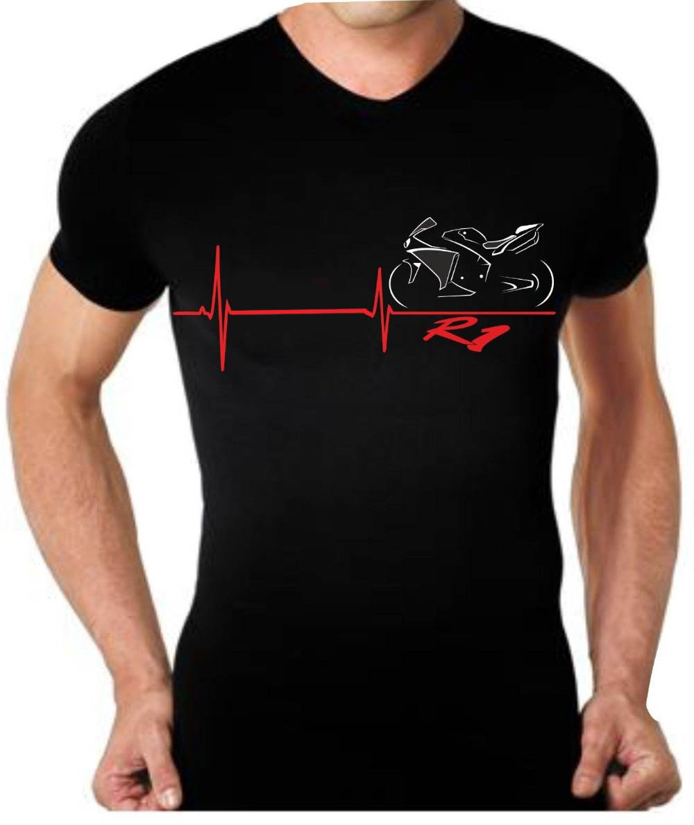 <font><b>2019</b></font> New Arrival Men'S Fashion Funny Tees Men Short Par Motorcycle <font><b>R1</b></font> Heartbeat T Shirt T-shirt Retro T Shirts image