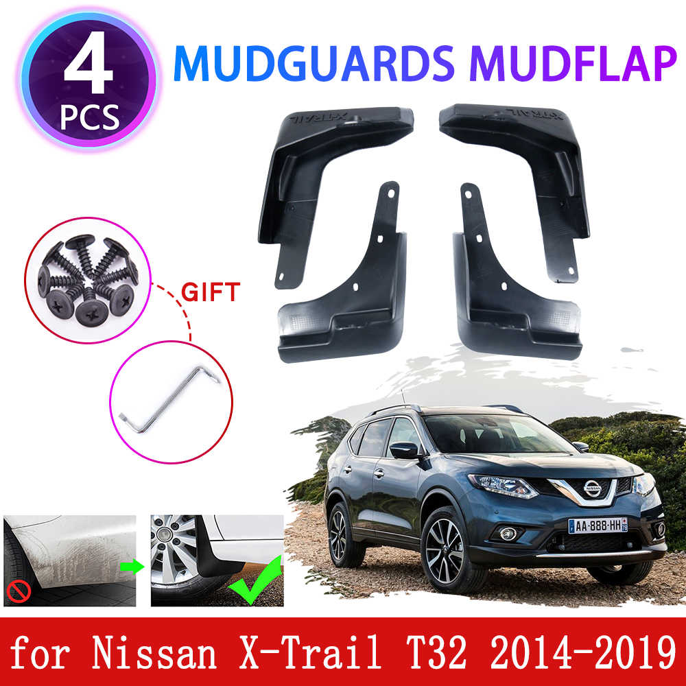 For Nissan X-Trail T32 2014-2019 Front Rear Set Moulded Fender HUAQIEMI 4Pcs Car Mudguards Mud Flaps Full Protection Premium Splash Guard Styling Accessories
