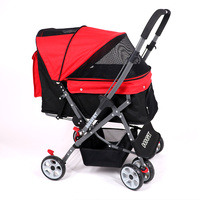 Dog Stroller Pet Four wheeled Cart Large Space Cat Collapsible Outbound Supplies