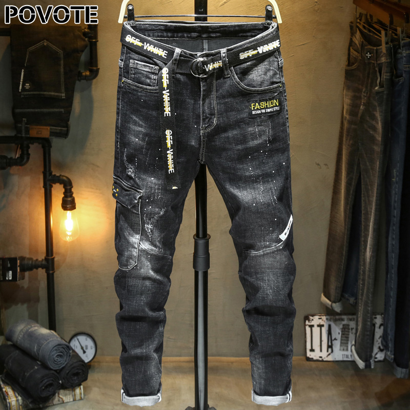 POVOTE 2020 New Fashion Men's Jeans Slim Small Leg Straight Tube Korean Trend Long Pants Elastic Pants Men's Trend Design