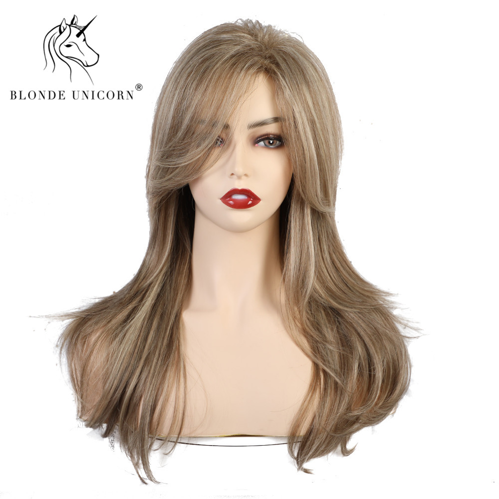 Blonde Unicorn Long Synthetic Natural Wave  Wig With Side Fringe Mixed Brown Natural Hairline Heat Resistant Wigs For Women