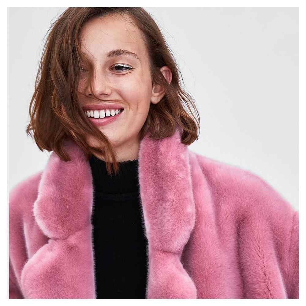 New ZA Solid Coat Women Outwear Faux Fur Effect Keep Wear Turn-Down Long Sleeve Elegant Temperment Autumn Winter Coat Wholesale