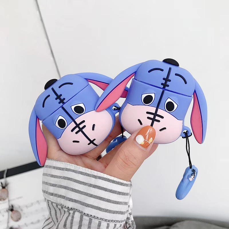 For AirPods <font><b>Case</b></font> 3D Cute Cartoon Donkey Earphone <font><b>Case</b></font> For Airpods 2/i10/<font><b>i11</b></font>/i12 <font><b>TWS</b></font> Soft Protect Cover with Finger Ring Strap image
