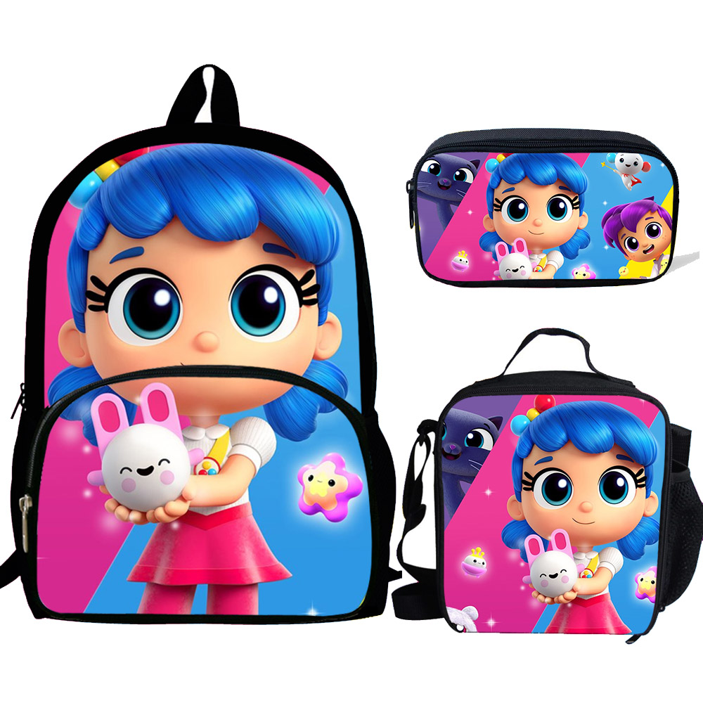True And Rainbow Kingdom Print School Bags 3pcs/set For Teen Girls School Backpack Cartoon Pattern Bookbag Lovely Satchel