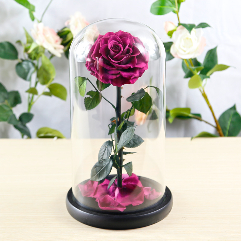 Big Glass Cover Eternal Preserved Fresh Flower Barbed Rose Flores Rose Immortal Rose for Valentine's Day Mother's Day Gifts