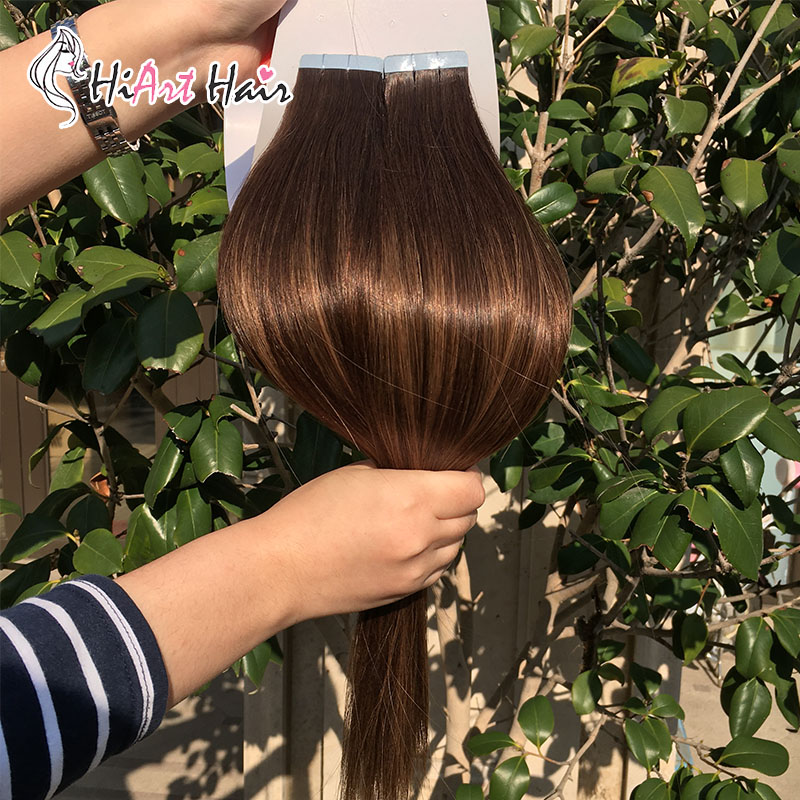 """HiArt 2g Tape In Hair Extensions Balayage Human Remy Hair Salon Double Drawn Straight Hair Extension Tape Adhesive 18""""-22"""""""