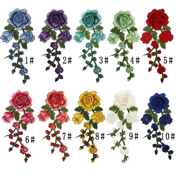 1pc Sewing On Patches Rose Flower Embroidered cloth stickers Fabric Applique Supplies Chinese Style Craft DIY