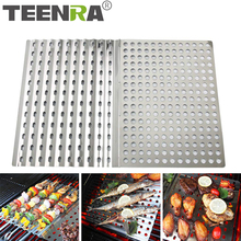TEENRA Folding Barbecue Mat Stainless Steel Grill Mat Portable Barbecue Baking Tray Non-stick BBQ Mesh Camping Tools