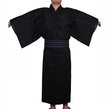 Mężczyźni japoński samuraj kostiumy Kimono Jinbei odzież domowa luźna bawełniana czarna Yukata tradycyjna odzież piżama koszula nocna szata tanie i dobre opinie CN (pochodzenie) COTTON Trzy czwarte Japanese yukata V-neck Only one robe(no belt) Sauna spa bathing home wear Three quarter