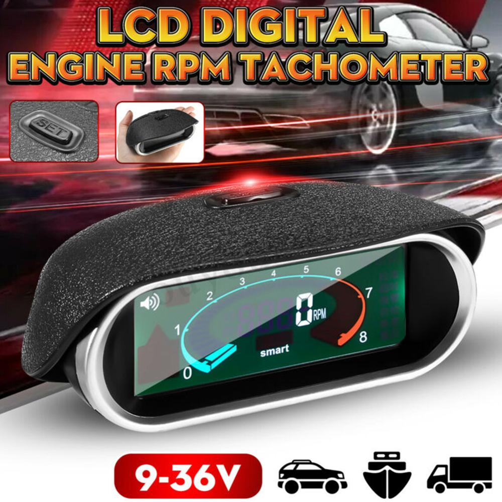Car Universal 50-9999RPM Tachometer LCD Digital Display Engine Tachometer Boat Truck LCD Screen RPM Meter
