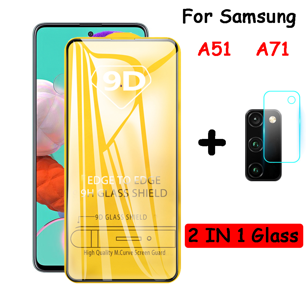 9D Tempered Glass For Samsung Galaxy A51 A71 Protective Film Cover On For Samsung A 51 A 71 A51 A71 Camera Lens Glass Protector