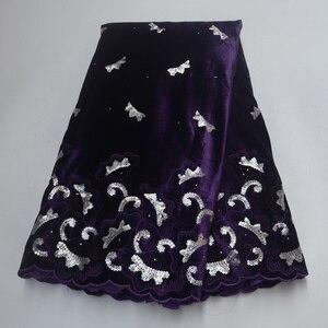 Image 3 - Tela de encaje de terciopelo púrpura de último diseño africano, encaje francés de alta calidad de 5 yardas/uds, con tela de lentejuelas para vestido de fiesta