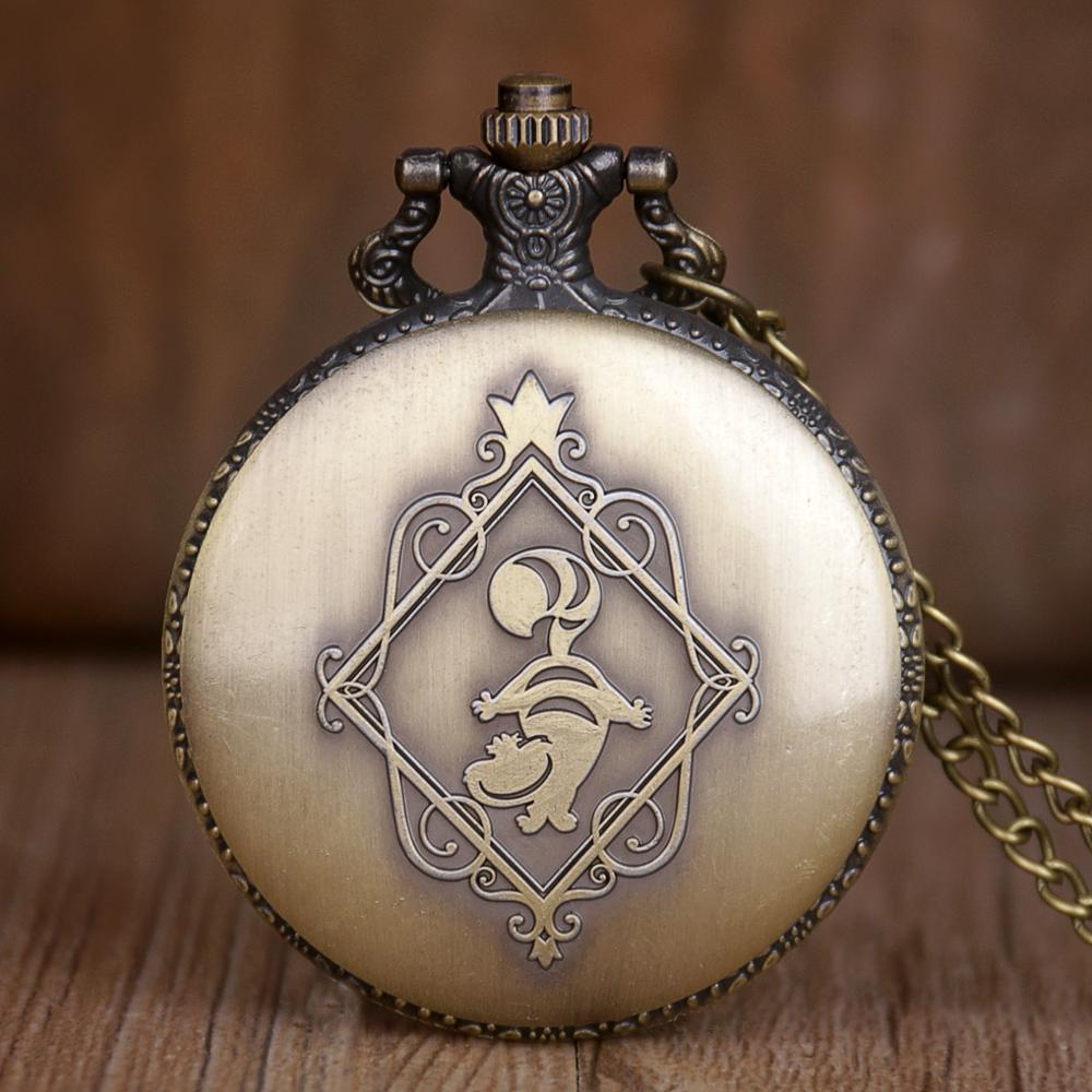 Retro Vintage Alice in Wonderland Rabbit Flower Pocket Watch Necklace Quartz Women Ladies Bronze Pendant Retro Chain Gift TD2072